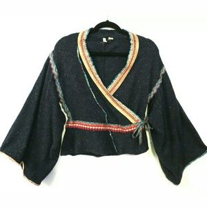 Moth Corn Wind kimono wrap sweater Navy blue